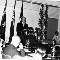 Secretary of State Dean Acheson speaking at an ANZUS Conference