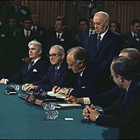 World Leaders signing the treaty that ended the Vietnam War