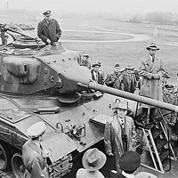 President Truman inspecting a tank produced under the Mutual Defense Assistance Program