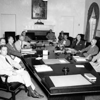 President Truman meeting with the NSC Staff