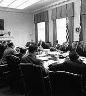 President Kennedy with his cabinet during the Cuban Missile Crisis